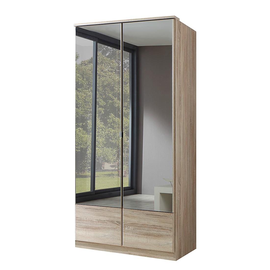 Drehtürenschrank Rajmi - Eiche Sägerau Dekor - Schrankbreite: 135 cm - 3 Spiegel
