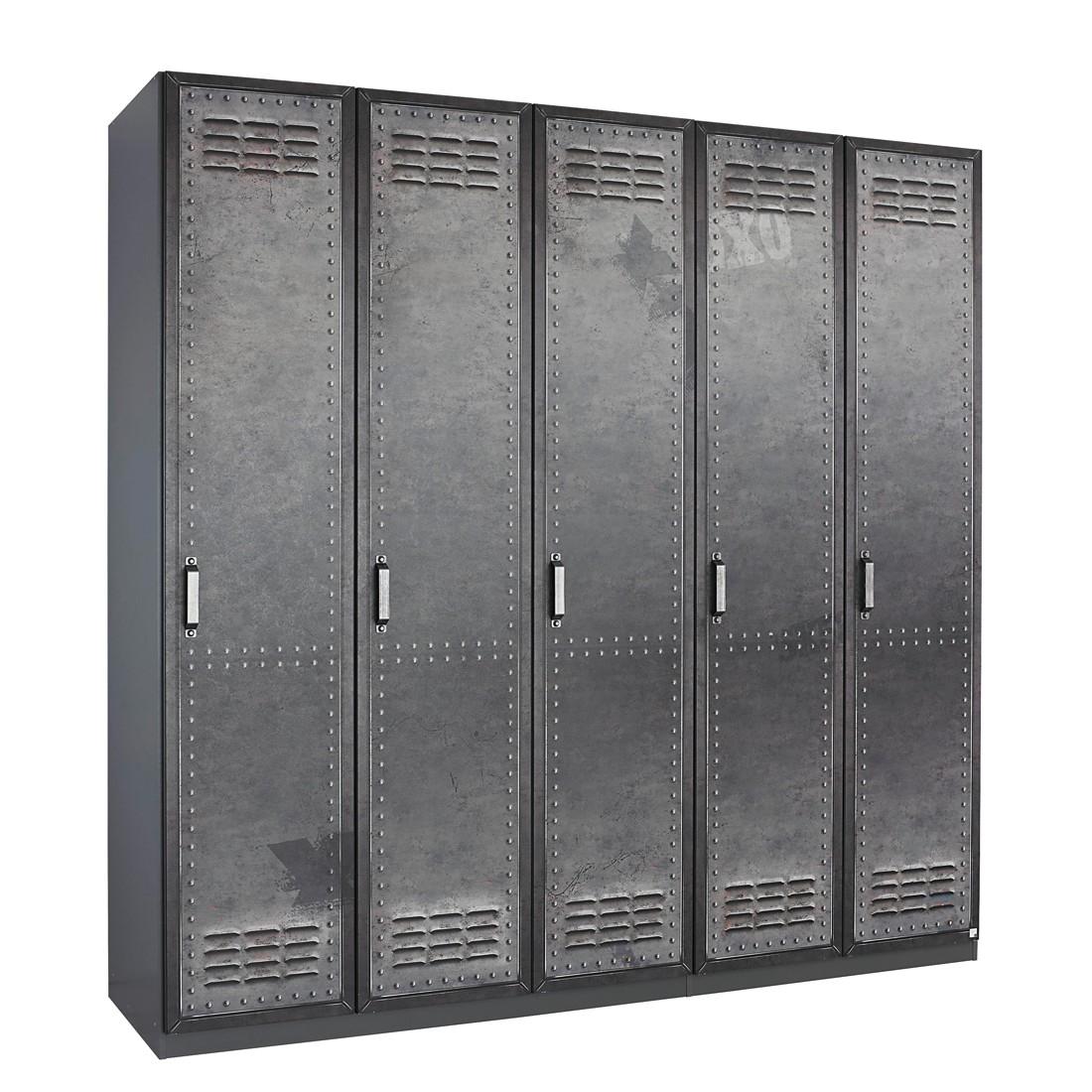Draaideurkast Workbase - industrial print look/grafietkleurig - 225cm (5-deurs) - scharnieren rechts, Rauch Select