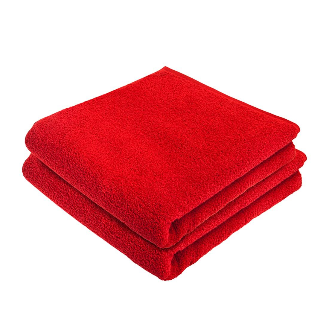 Home 24 - Service de bain pure (lot de 2) - coton - rouge, stilana