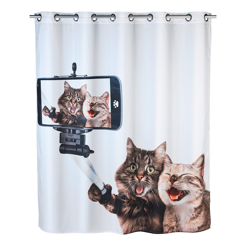Duschvorhang Selfie Cat Flex - Kunstfaser - Wei...