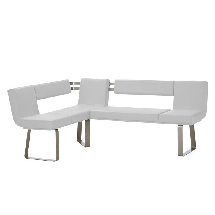 Home 24 - Banc d angle chacigo - blanc / acier inoxydable, loftscape