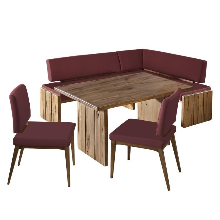 Hoekbankset Tacua (4-delige set) - massief oud wildeikenhout/echt leer - Rood - Free vorm links, Jung und Söhne