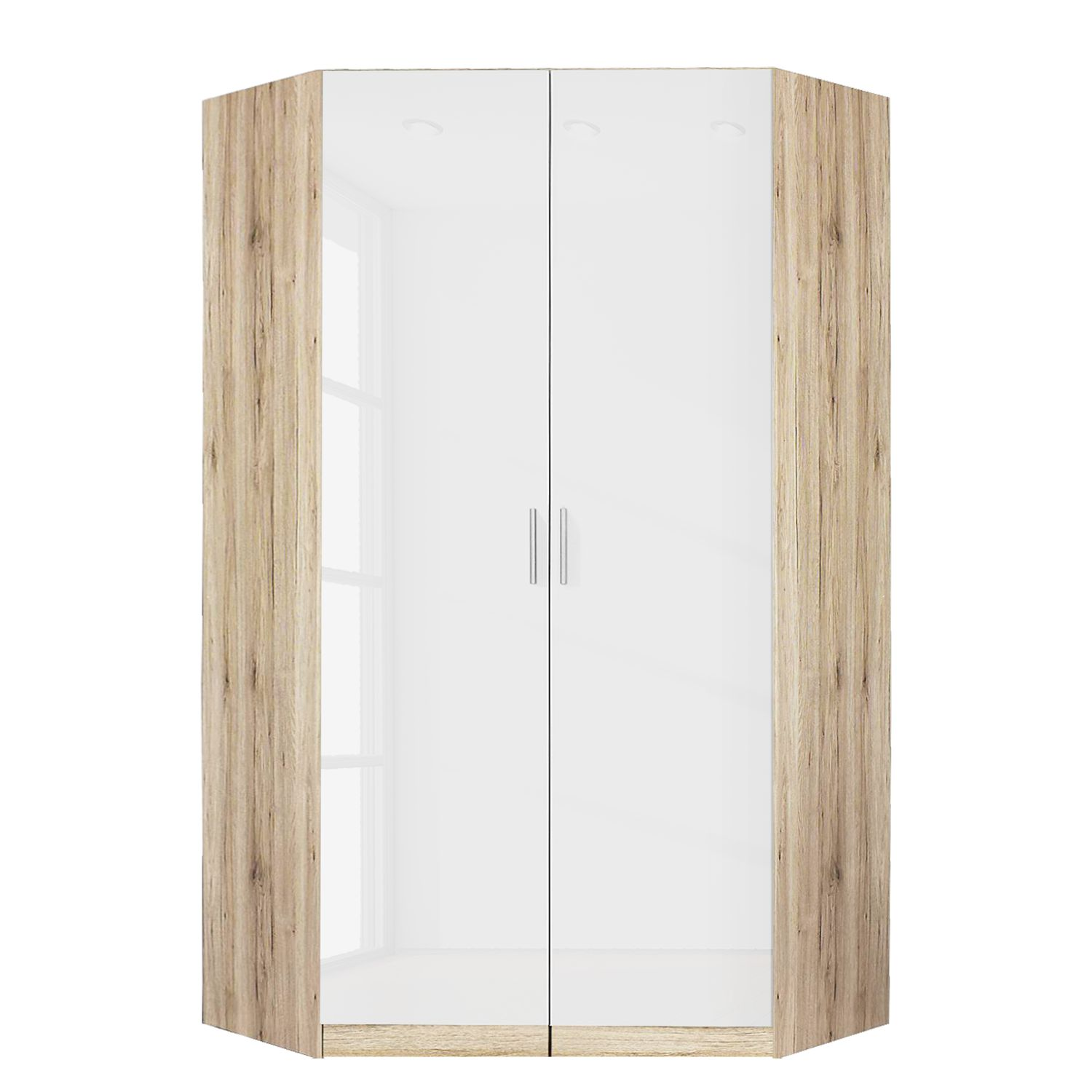 Armoire d'angle Celle - Imitation chêne de Sonoma / Blanc brillant, Rauch Packs