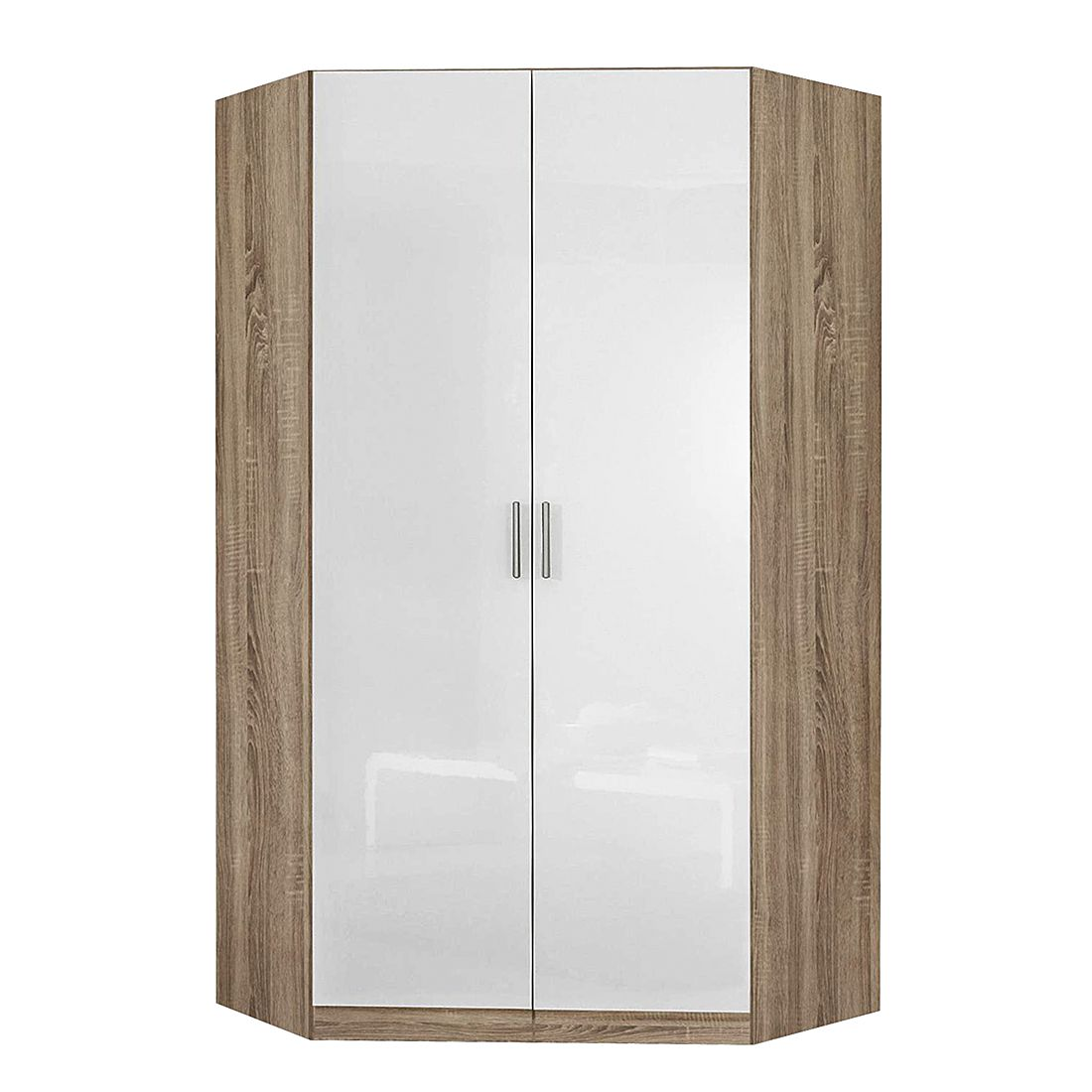 Armoire d'angle Celle - Blanc brillant / Imitation chêne de Sonoma, Rauch Packs