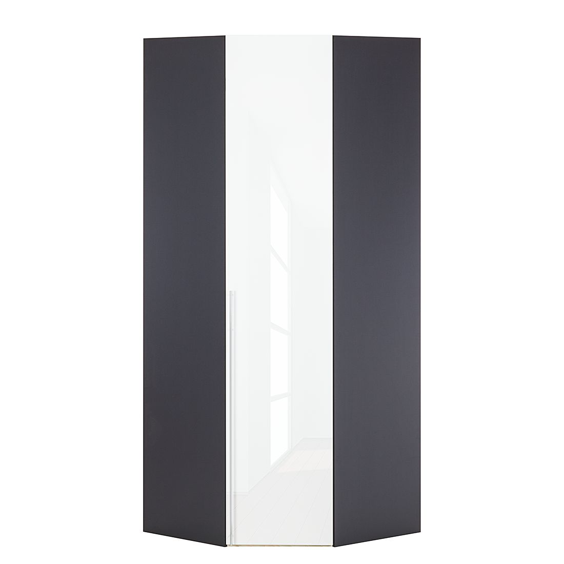 Armoire d'angle Brooklyn VII - Gris graphite / Vernis blanc - 216 cm, Express Möbel