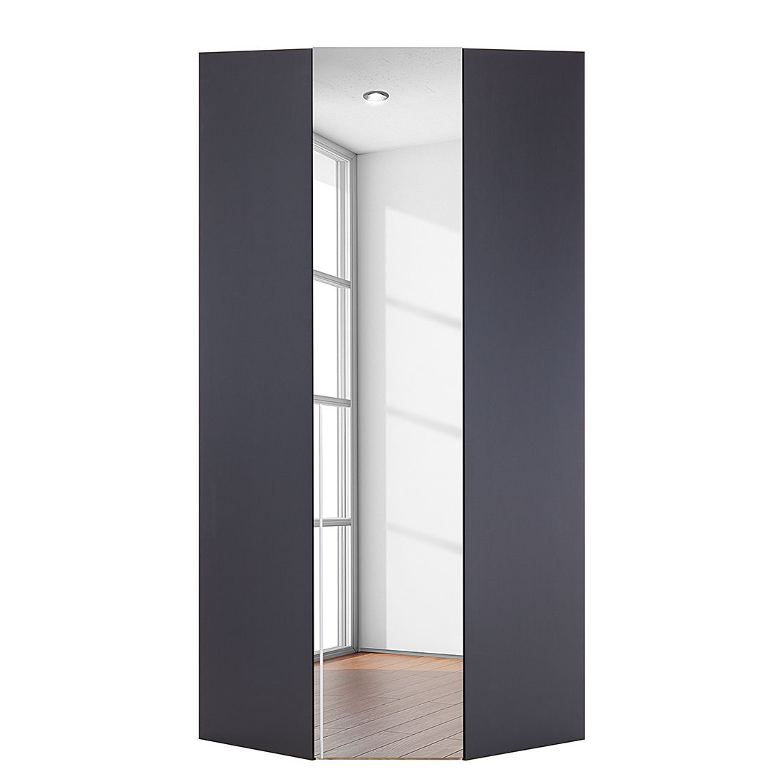 Armoire d'angle Brooklyn V - Gris graphite / Miroir - 216 cm, Express Möbel