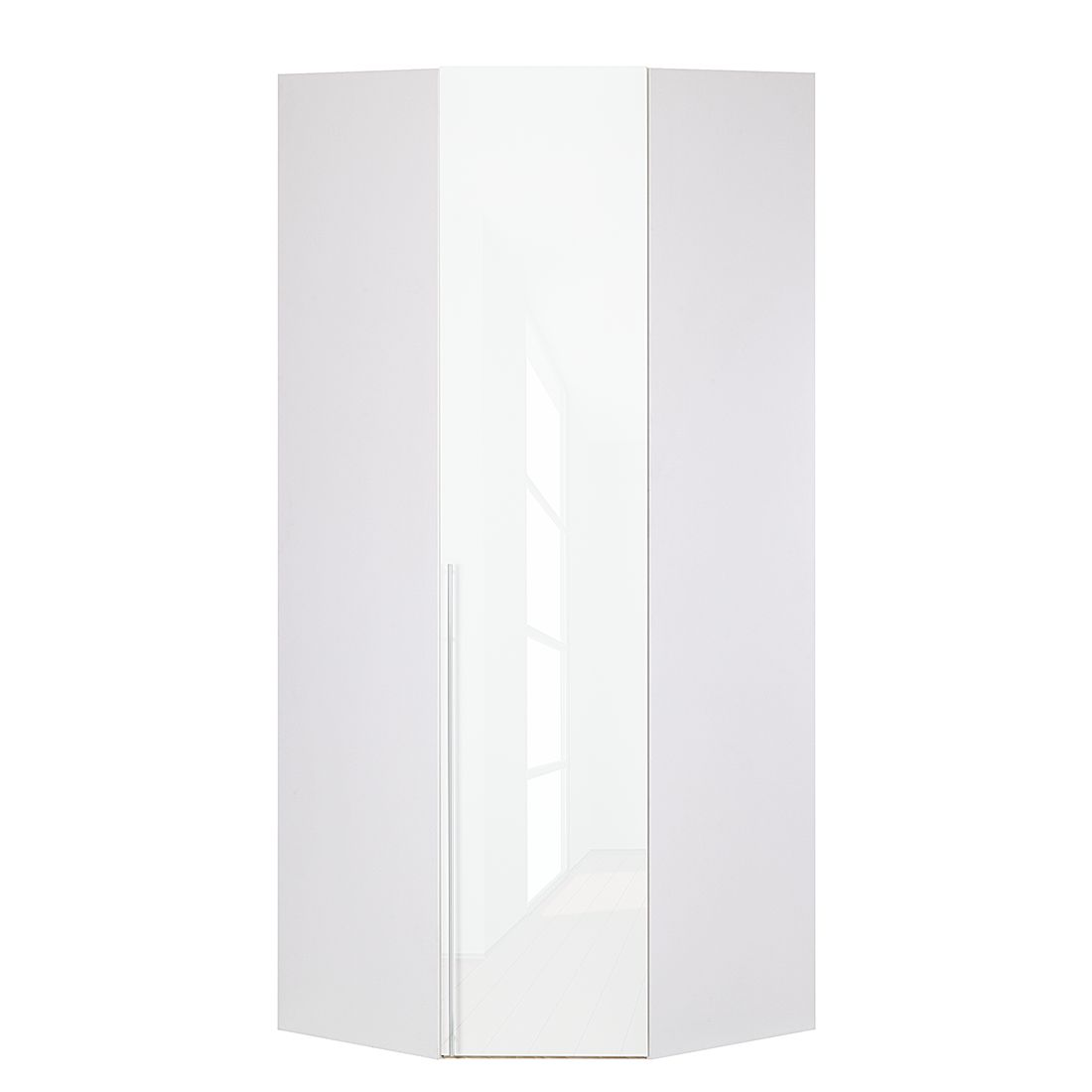 Armoire d'angle Brooklyn VI - Blanc polaire / Vernis blanc - 216 cm, Express Möbel