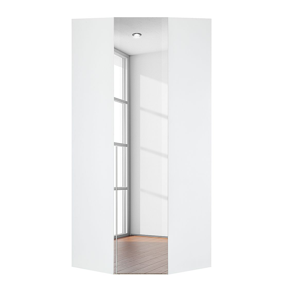 Armoire d'angle Brooklyn III - Blanc polaire / Miroir - 216 cm, Express Möbel