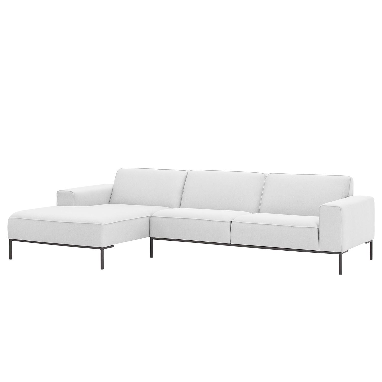 Ecksofa Ampio II Webstoff - Longchair/Ottomane davorstehend links - Grau - Stoff Floreana Weiß