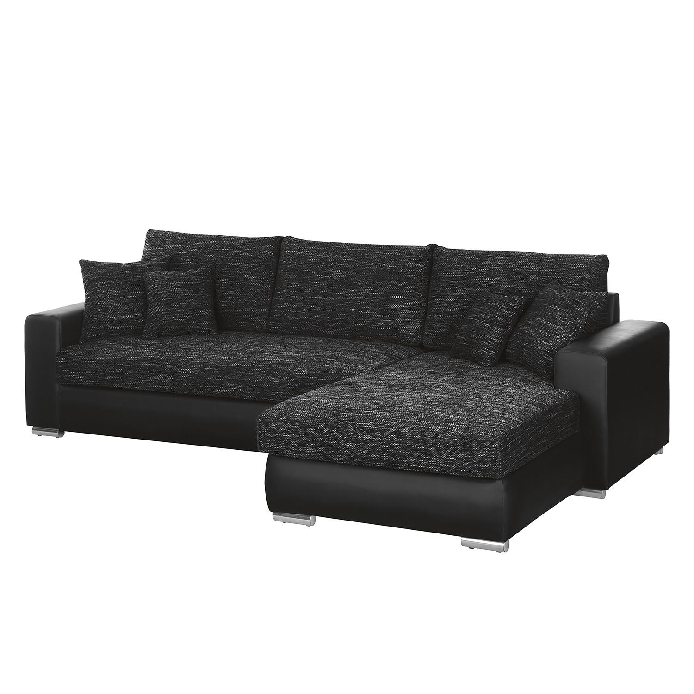 Canapé d'angle Berrings (convertible) - Imitation cuir / Tissu structuré - Noir - Méridienne longue