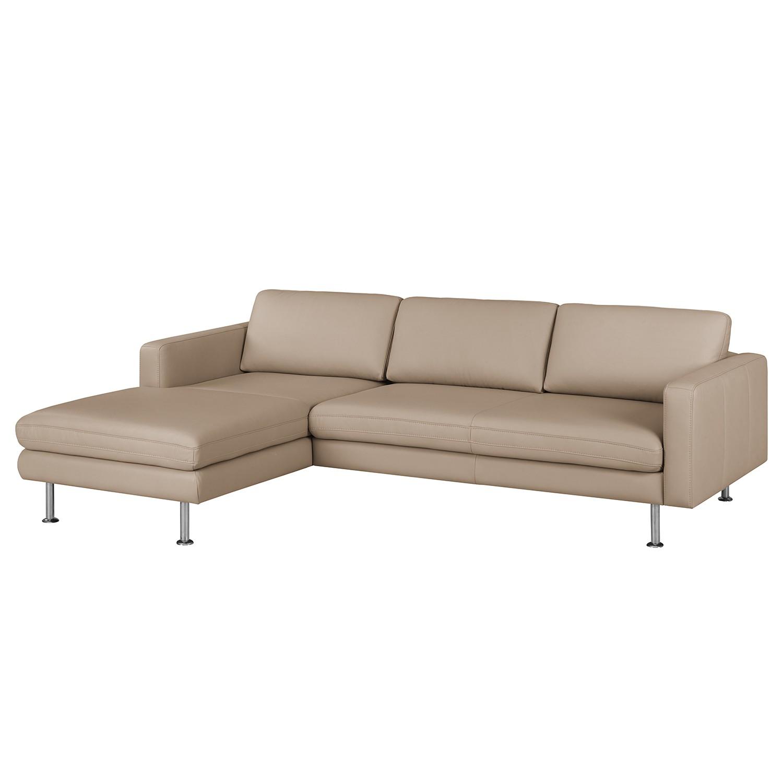 Canapé d'angle Bivona I - Cuir véritable - Méridienne longue à gauche (vue de face) - Cappuccino, Nu
