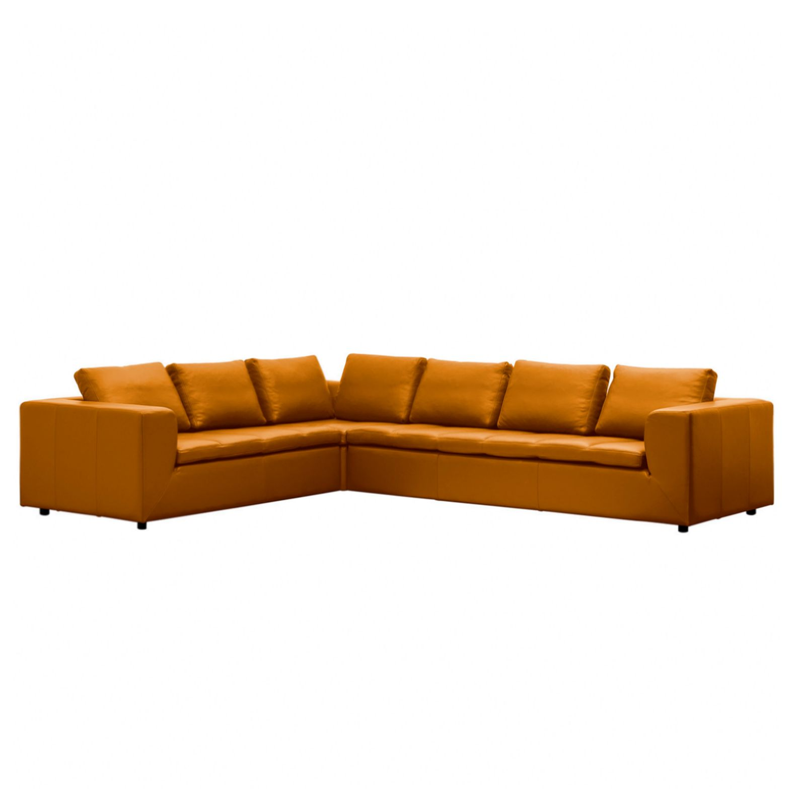 Ecksofa Brooklyn Echtleder - 2-Sitzer davorstehend links - Echtleder Neka Cognac