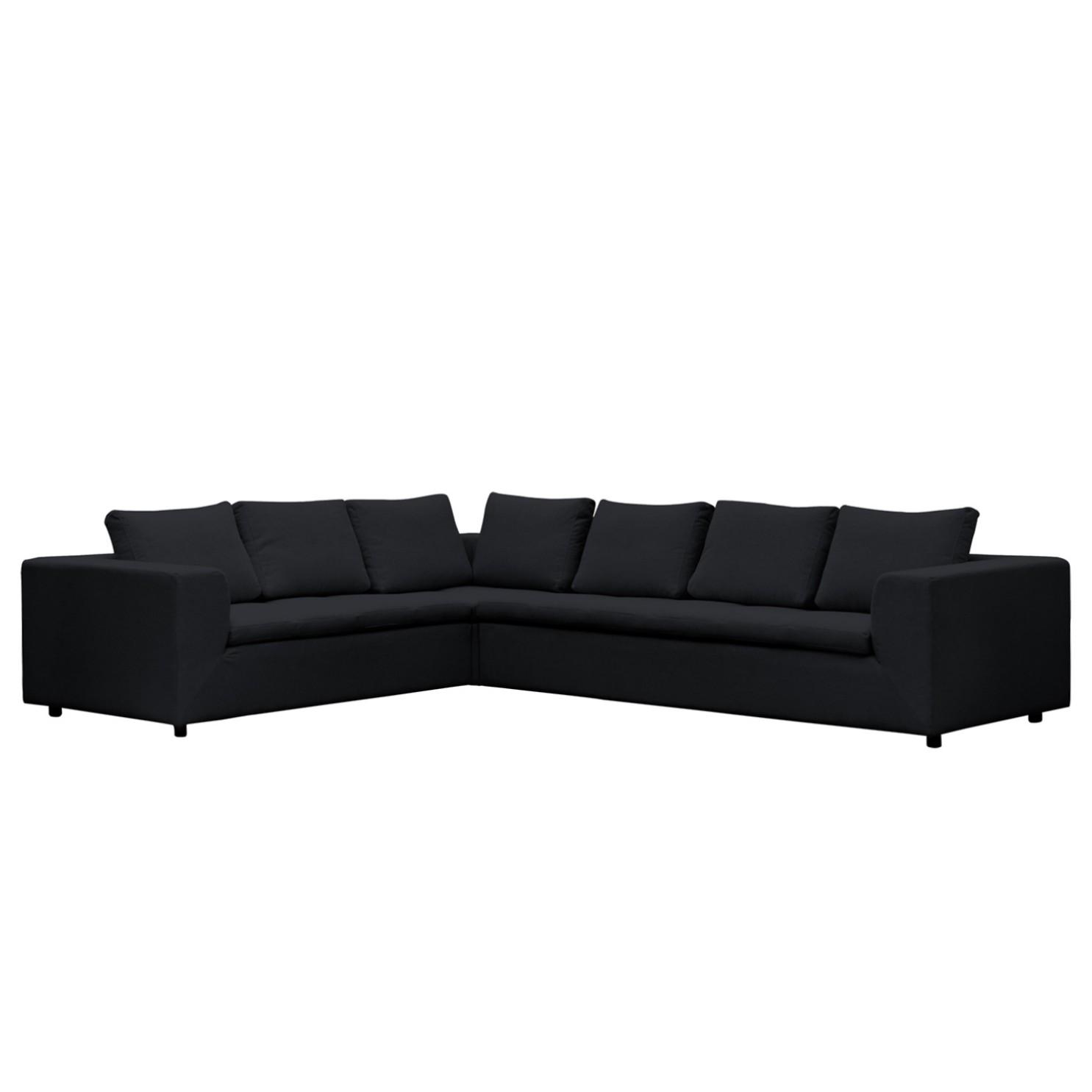 Ecksofa Brooklyn Webstoff - 2-Sitzer davorstehend links - Stoff Saia Anthrazit