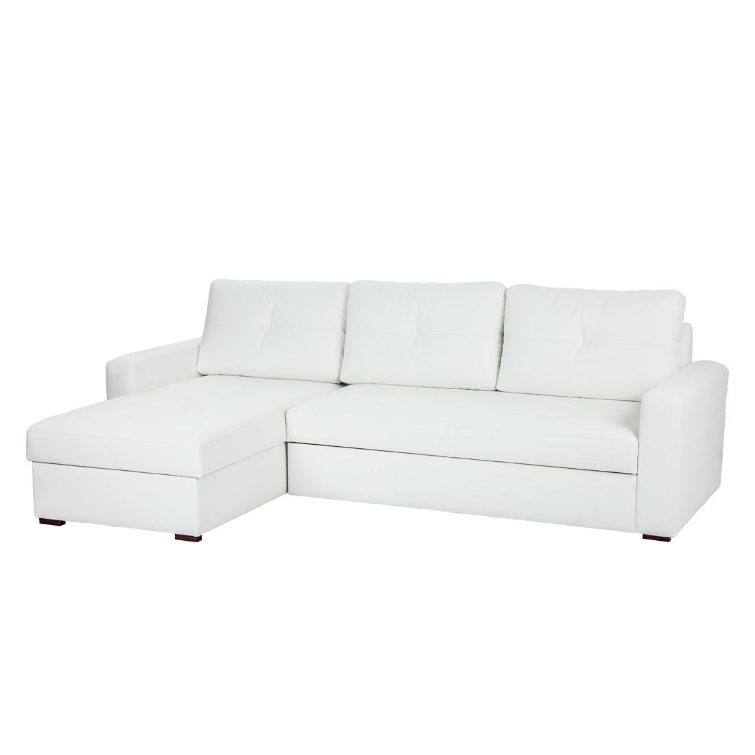 Canapé d'angle Cavolo (avec fonction couchage) - Imitation cuir blanc - Méridienne montable à gauche