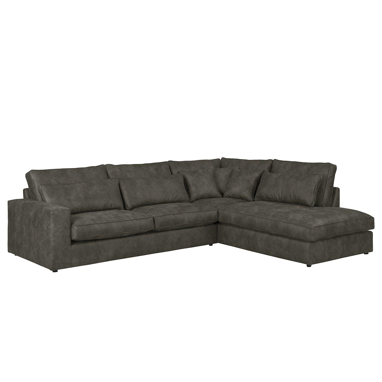 Canapé d'angle Coolock - Aspect cuir vieilli - Courte à droite (vue de face) - Gris marron, ars manu