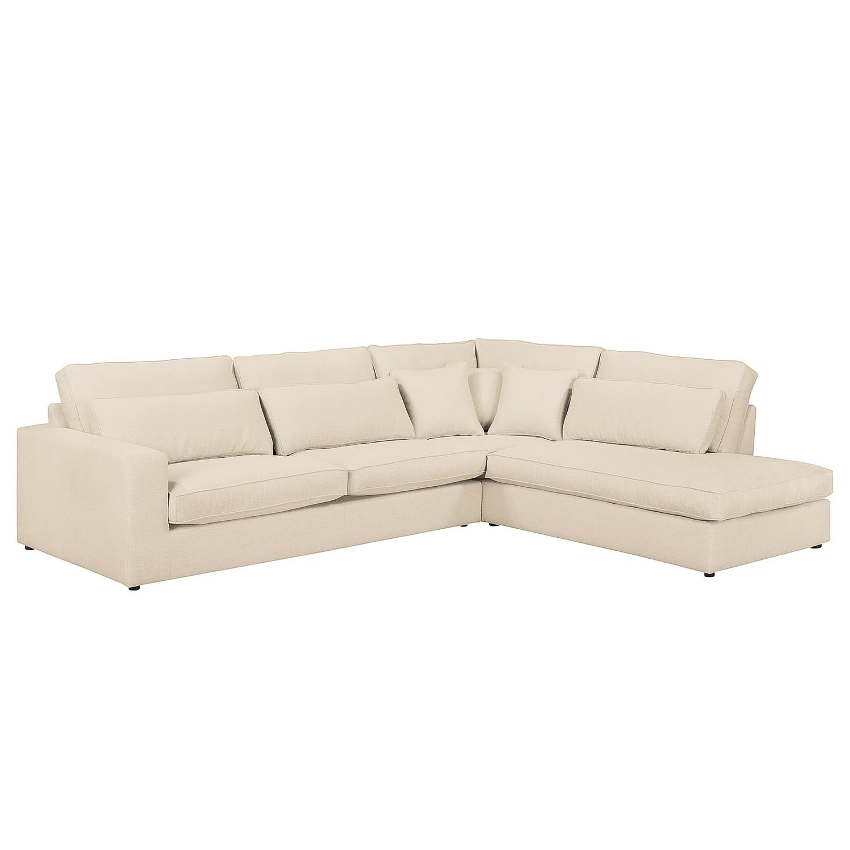Canapé d'angle Coolock - Tissu - Courte à droite (vue de face) - Crème, Naturoo