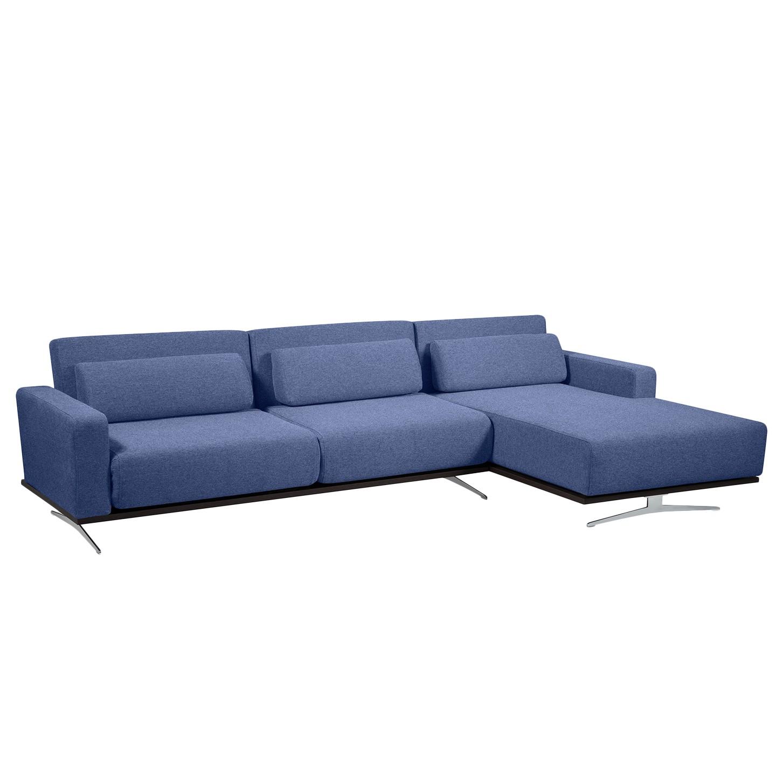 Ecksofa Copperfield I (mit Schlaffunktion) - Webstoff - Longchair/Ottomane davorstehend rechts - Stoff Bora Blau