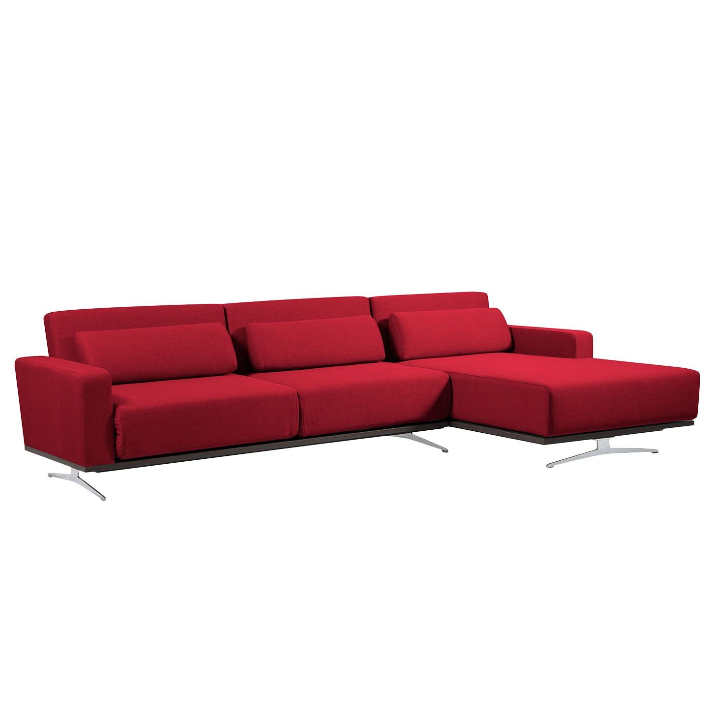 Ecksofa Copperfield I (mit Schlaffunktion) - Webstoff - Longchair/Ottomane davorstehend rechts - Stoff Zahira Rot