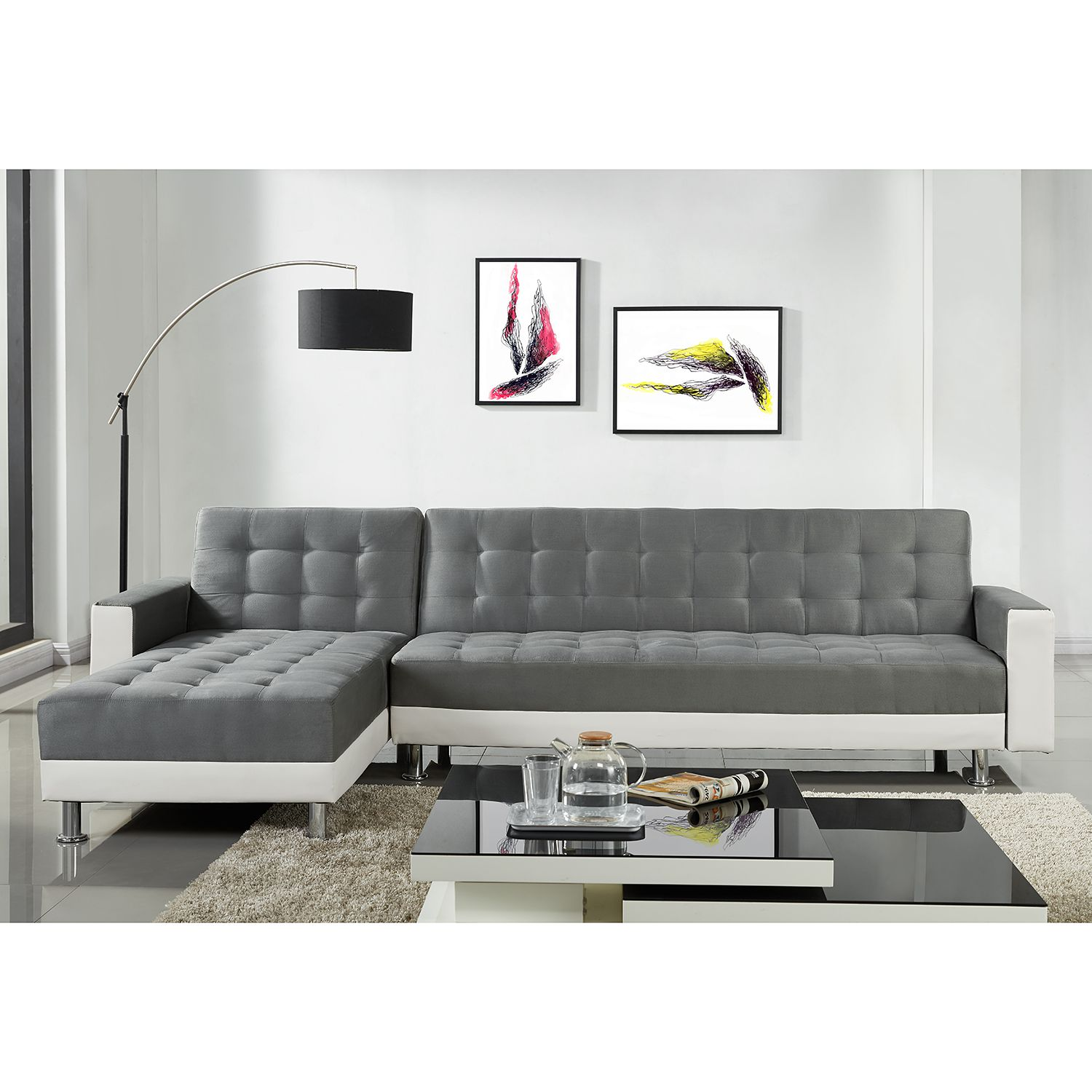 ecksofa corby mit schlaffunktion kunstleder microfaser wei couch ebay. Black Bedroom Furniture Sets. Home Design Ideas