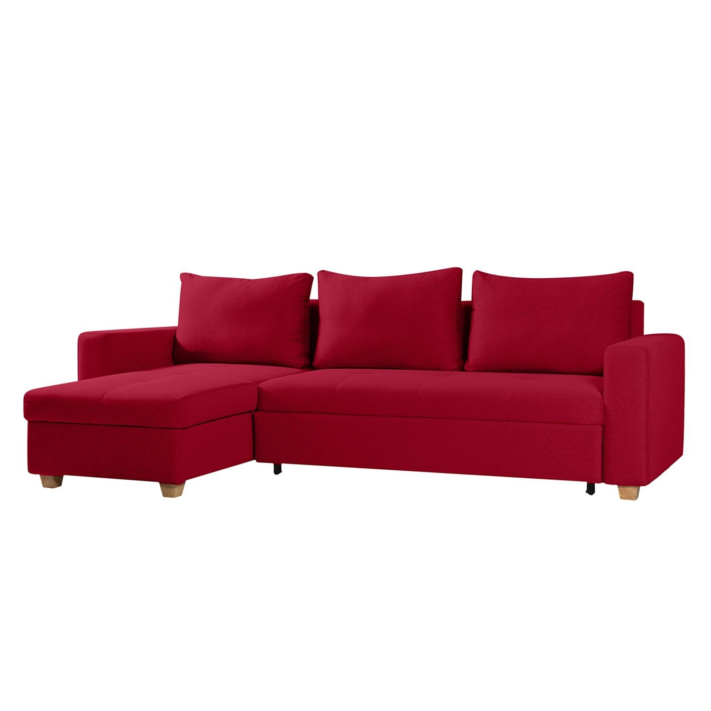 Ecksofa Crandon (mit Schlaffunktion) - Webstoff - Longchair/Ottomane davorstehend links - Stoff Zahira Rot