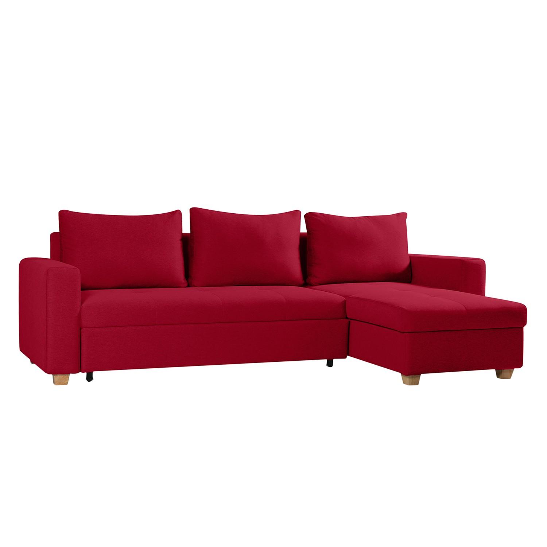 Ecksofa Crandon (mit Schlaffunktion) - Webstoff - Longchair/Ottomane davorstehend rechts - Stoff Zahira Rot