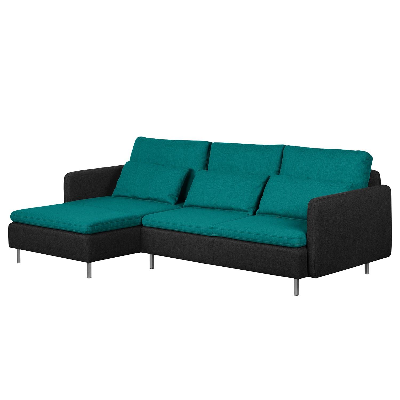 ecksofa cromwell webstoff longchair ottomane davorstehend links petrol schwarz. Black Bedroom Furniture Sets. Home Design Ideas