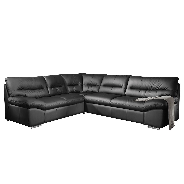 Canapé d'angle Doug - Cuir véritable - Noir - Élément 2,5 places monté à droite (vu de face) - Avec