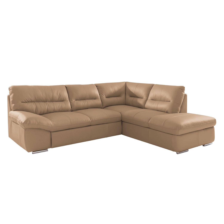 Canapé d'angle Doug - Cuir véritable - Courte à droite (vue de face) - Avec fonction couchage - Cuir
