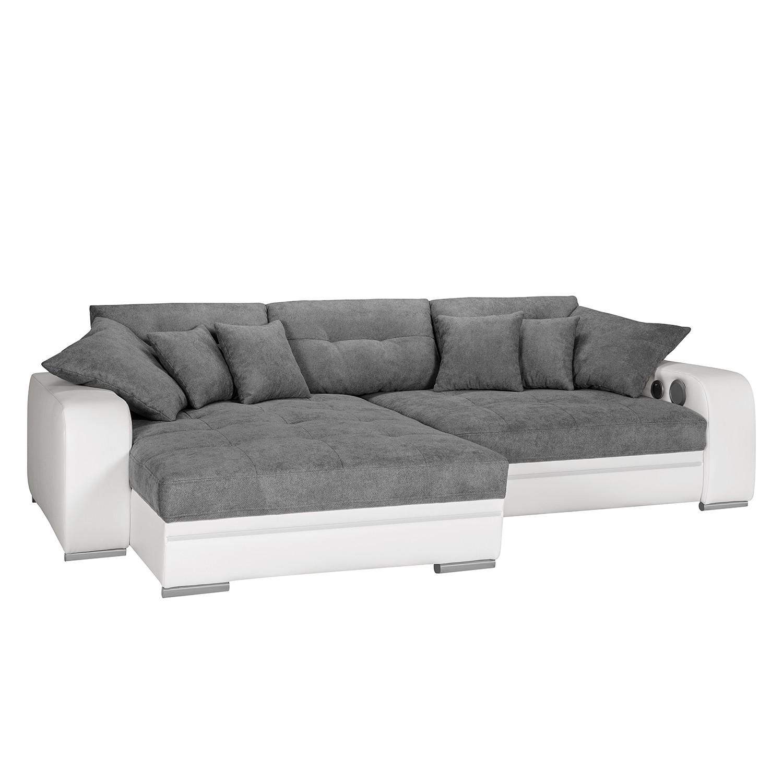 EEK A+, Canapé d'angle Dunure (convertible / avec éclairage et système Bluetooth) - Imitation cuir /
