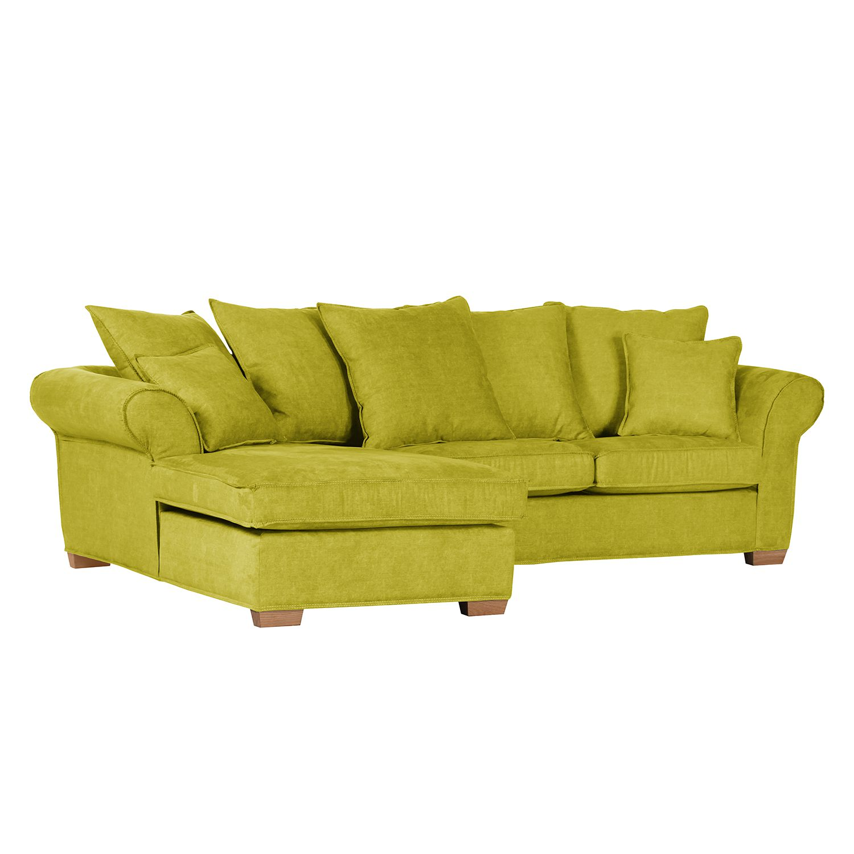 Canapé d'angle Durana - Microfibre - Courte à gauche (vue de face) - Citron vert, Ridgevalley