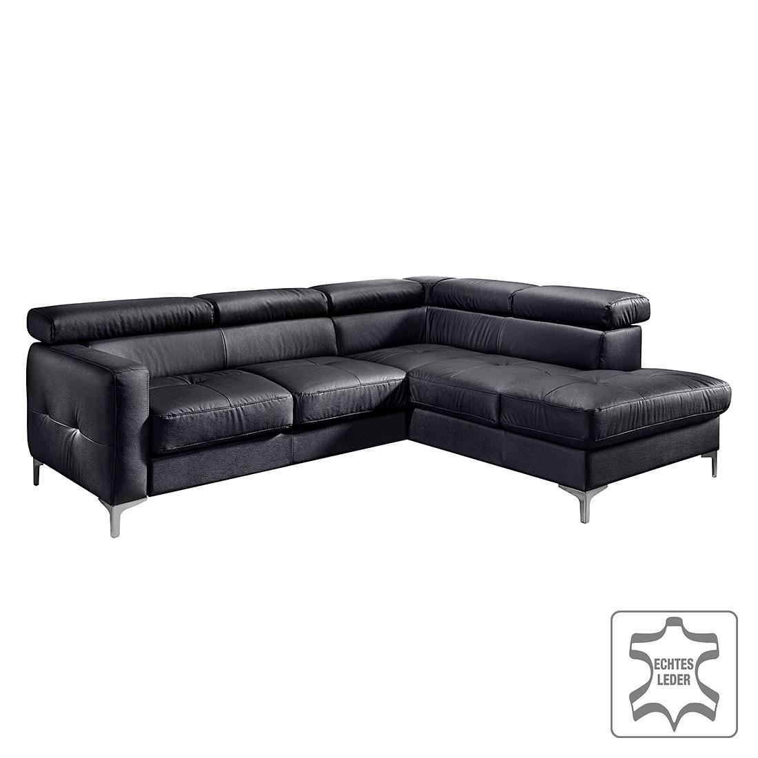 Canapé d'angle Eduardo II - Cuir véritable - Méridienne à droite (vue de face) - Sans fonction couch