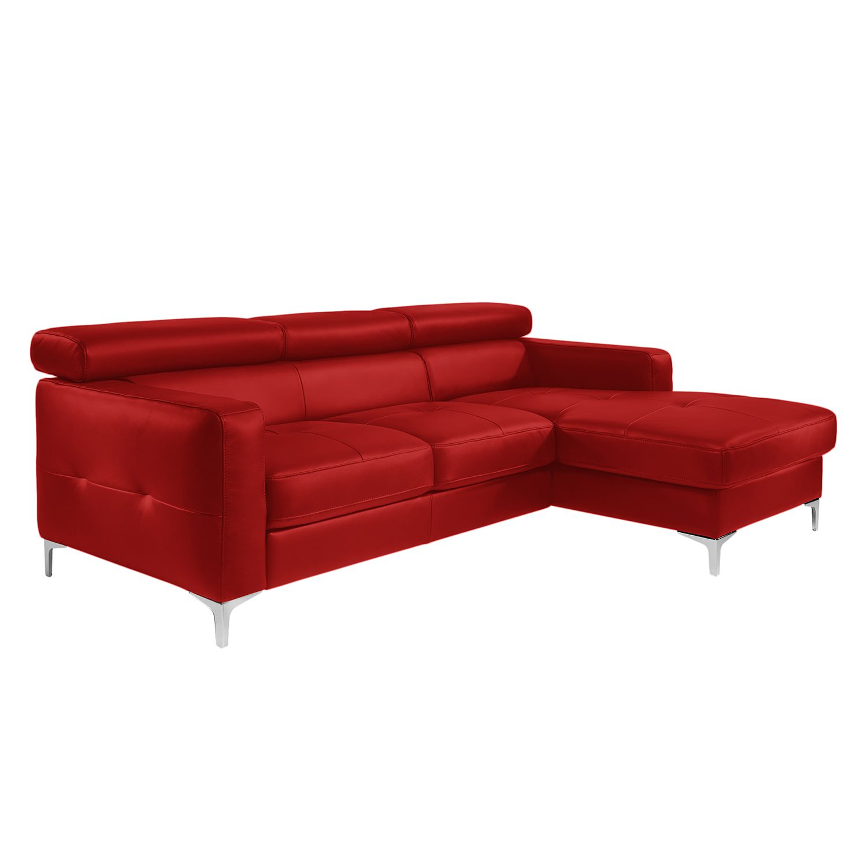 Canapé d'angle Eduardo - Imitation cuir - Méridienne à droite (vue de face) - Avec fonction couchage