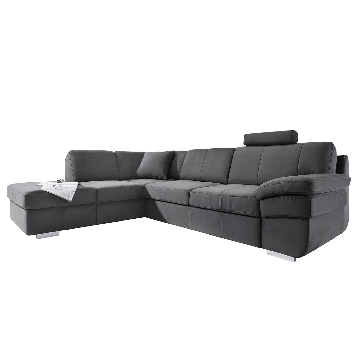ecksofa eltham mit schlaffunktion microvelour longchair ottomane davorstehend links. Black Bedroom Furniture Sets. Home Design Ideas