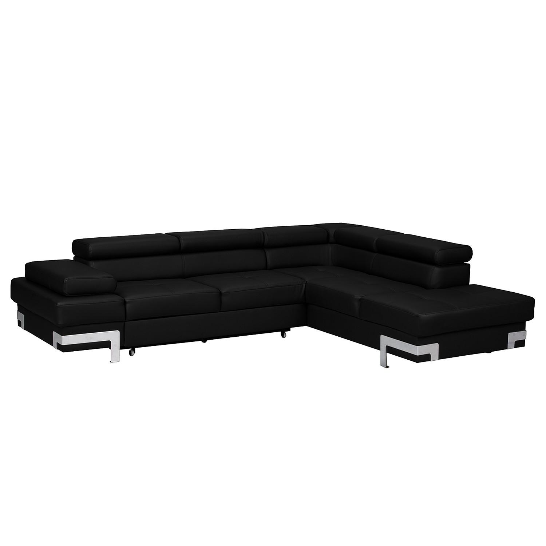Canapé d'angle Flemington (convertible) - Imitation cuir - Courte à droite (vue de face) - Noir, ars