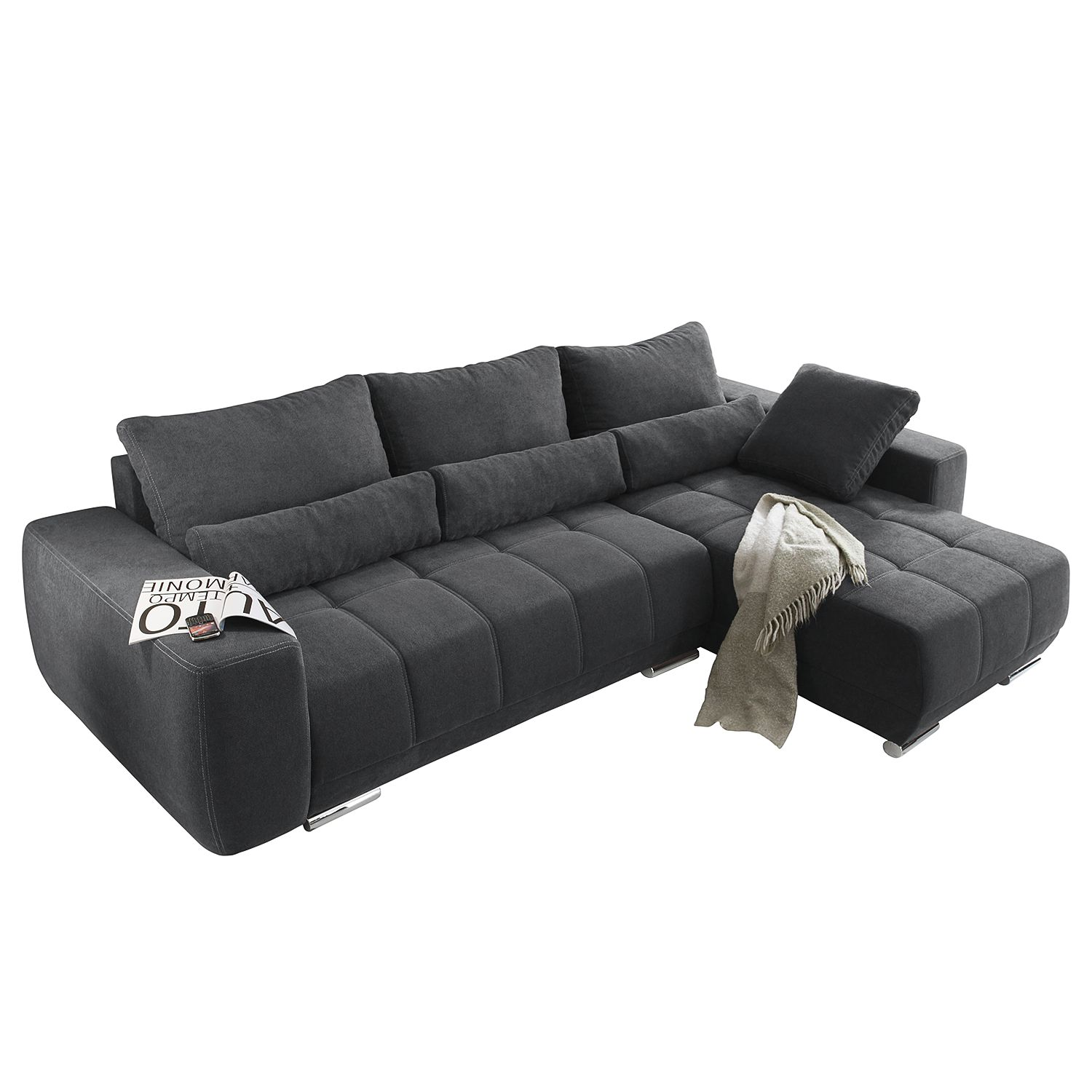 ecksofa galilea mit schlaffunktion beidseitig montierbar microfaser dunkelgrau fredriks. Black Bedroom Furniture Sets. Home Design Ideas