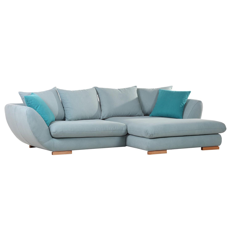 Canapé d'angle Gander - Tissu - Bleu gris / Bleu pétrole, Ridgevalley