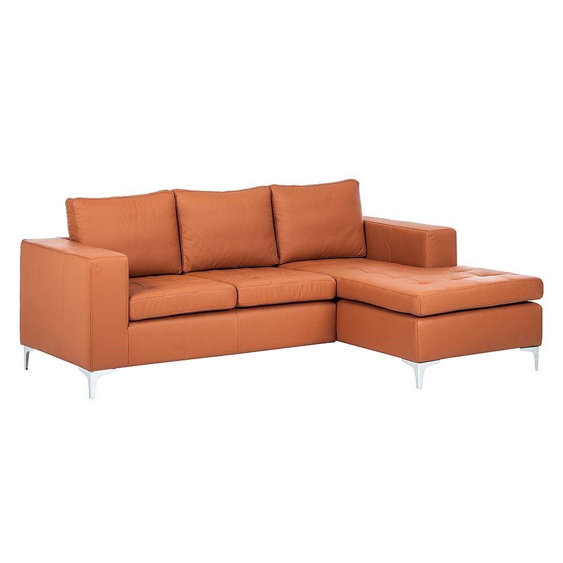 Canapé d'angle Giulia - Cuir véritable - Méridienne à droite (vue de face) - Cognac, loftscape