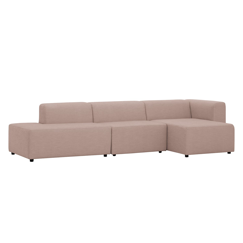 ecksofa graham webstoff longchair ottomane davorstehend rechts stoff dona beige rosa kaufen. Black Bedroom Furniture Sets. Home Design Ideas