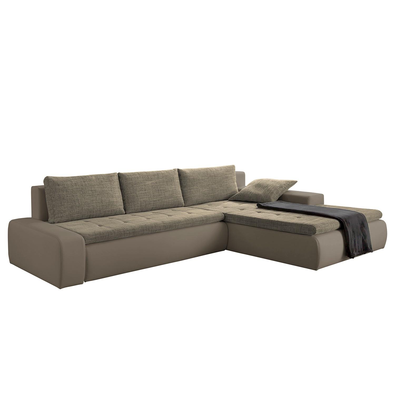 Hoekbank Grand Bahama (met slaapfunctie) - kunstleer/structuurstof - longchair aan beide zijden monteerbaar - Grijs/bruin, mooved