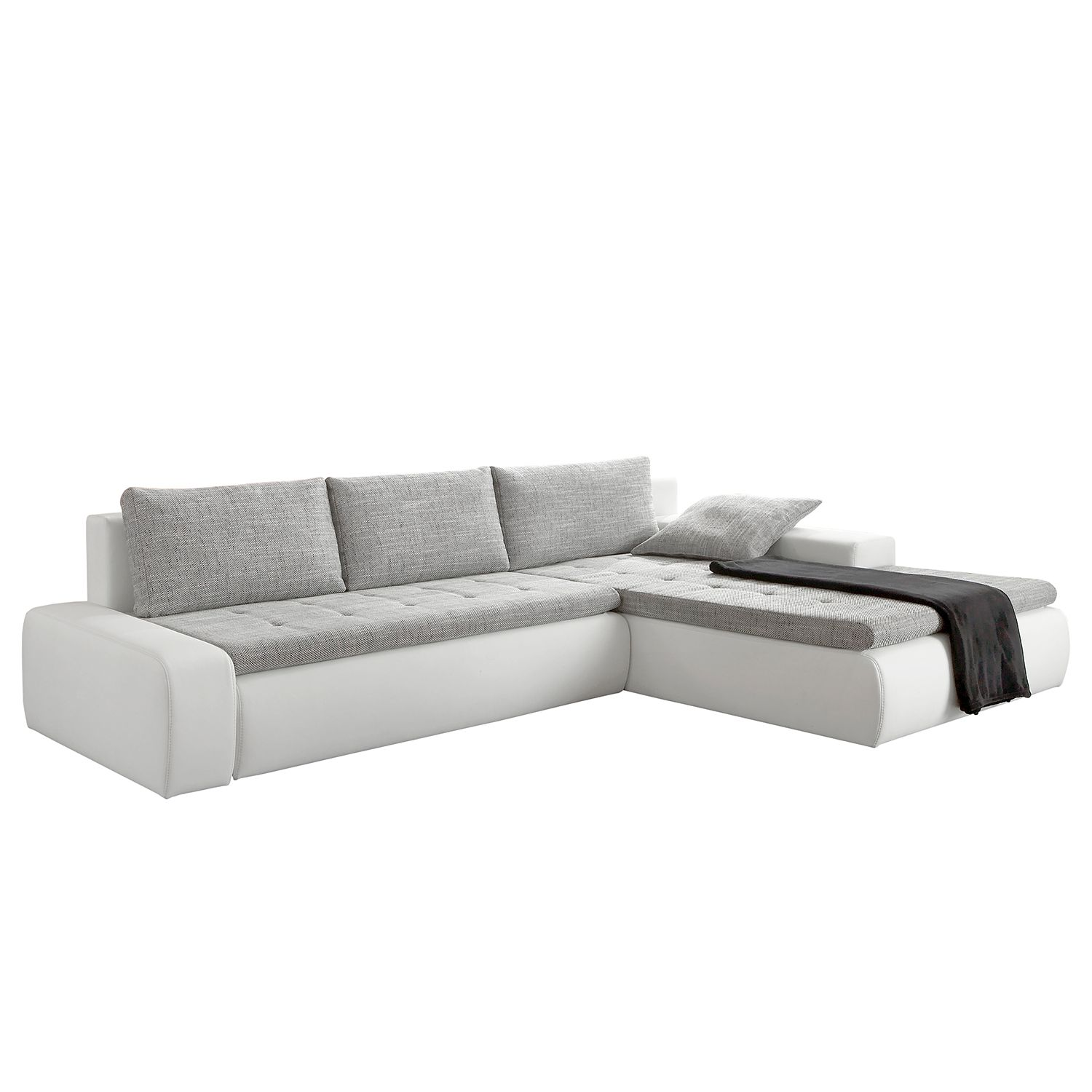 zenith canap angle gauche convertible gris blanc. Black Bedroom Furniture Sets. Home Design Ideas