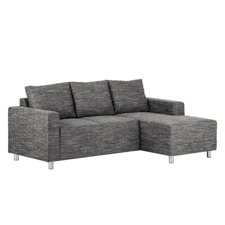 Canapé d'angle Greenwood - Tissu - Méridienne à droite (vue de face) - Noir, mooved