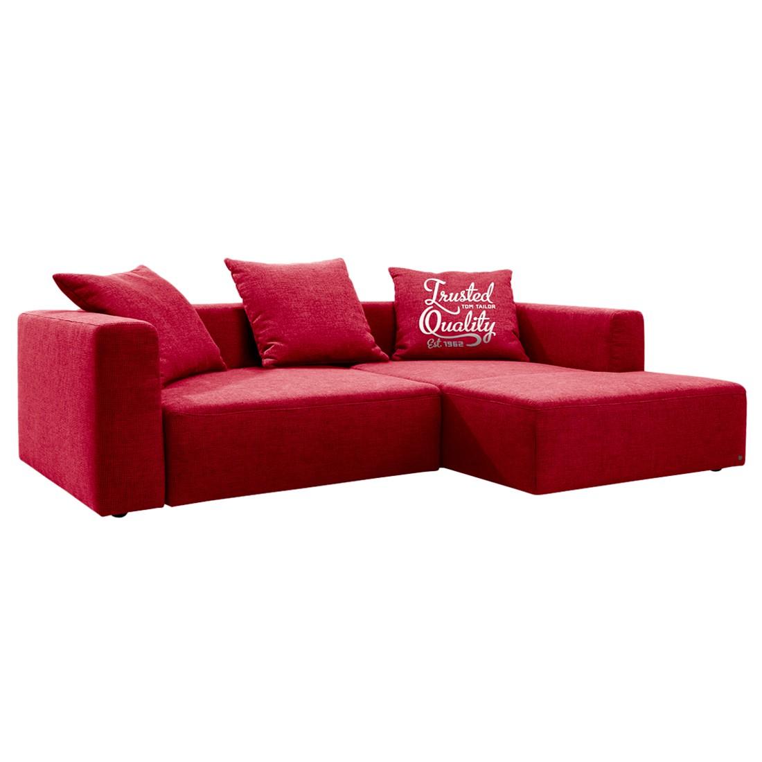 Hoekbank Heaven Casual - longchair vooraanzicht rechts - Met slaapfunctie - Stof TCU7 warm red, Tom Tailor