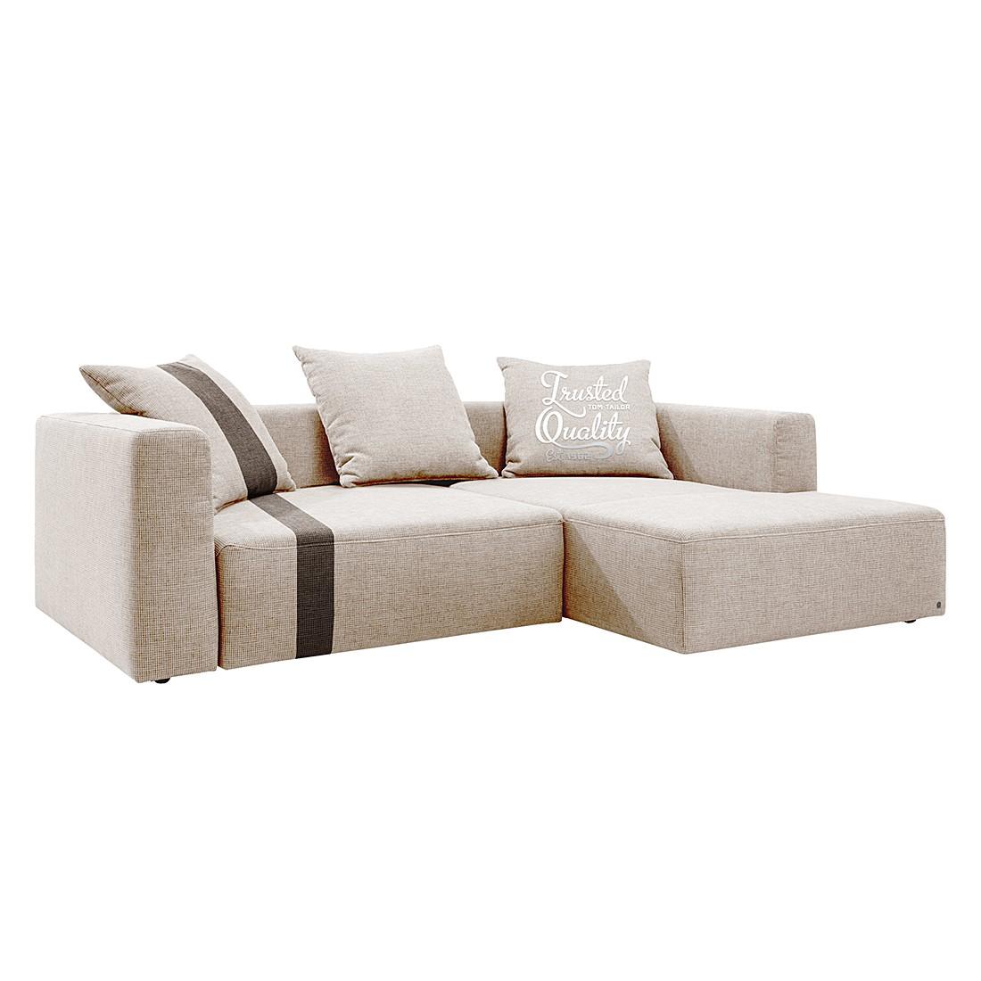 Canapé d'angle Heaven Stripe - Tissu Méridienne à droite (vue de face) - Beige / Marron - Sans couss