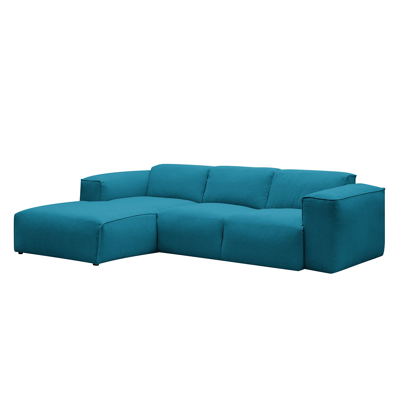 ecksofa hudson iii webstoff longchairottomane davorstehend links stoff anda ii trkis - Eckschlafsofa Die Praktischen Sofa Fur Ihren Komfort