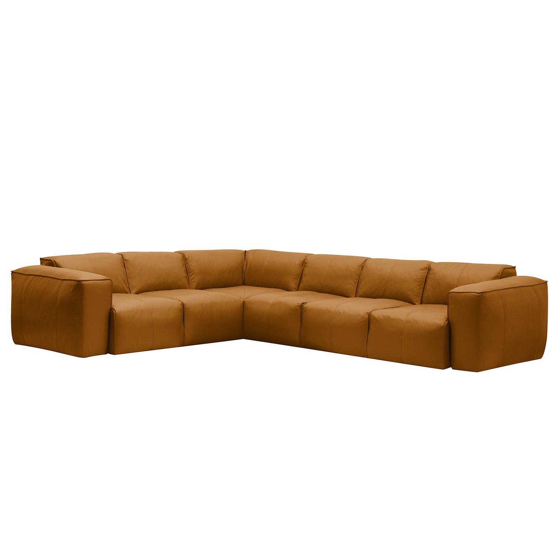 Ecksofa Hudson VI - Echtleder - 3-Sitzer davorstehend rechts - Echtleder Neka Cognac