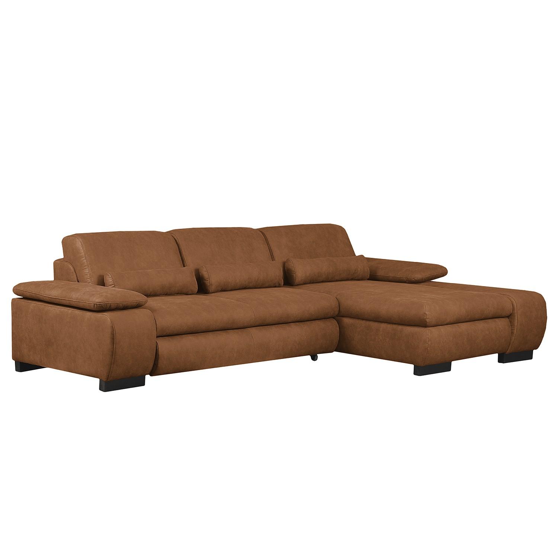 Canapé d'angle Infinity (convertible) Aspect cuir vieilli - Méridienne longue à droite (vue de face)