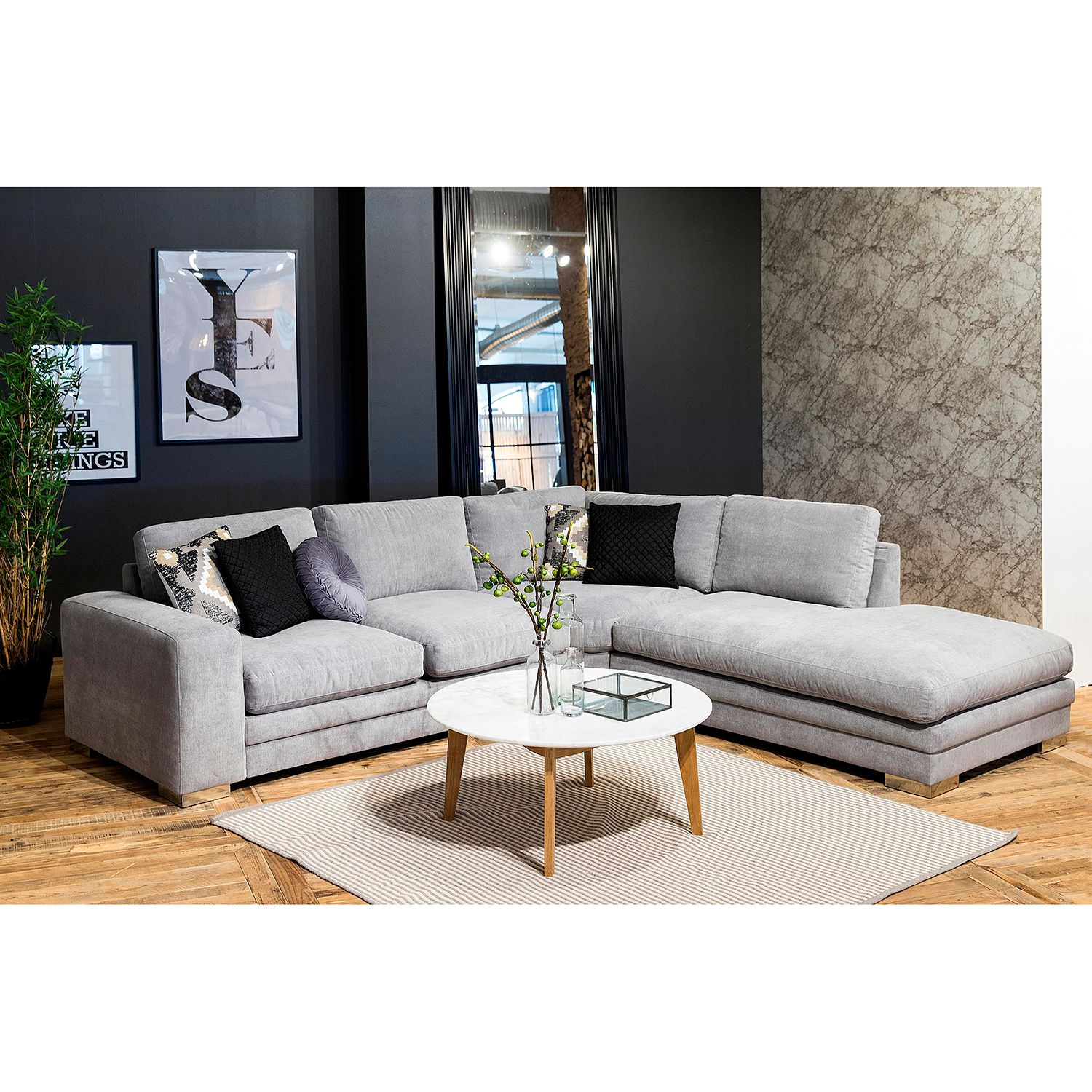 M-AC-03-00166 Ecksofa Intento – Microfaser – Grau, roomscape ...