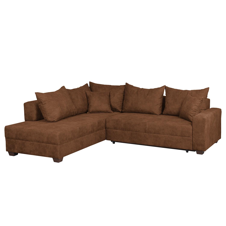 Canapé d'angle Inywa (convertible / montable des deux côtés) - Aspect cuir antique - Cognac, roomsca