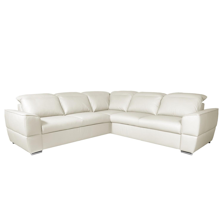 Canapé d'angle Jovita Cuir véritable - Fonction lit à gauche (vue de face) - Avec fonction couchage