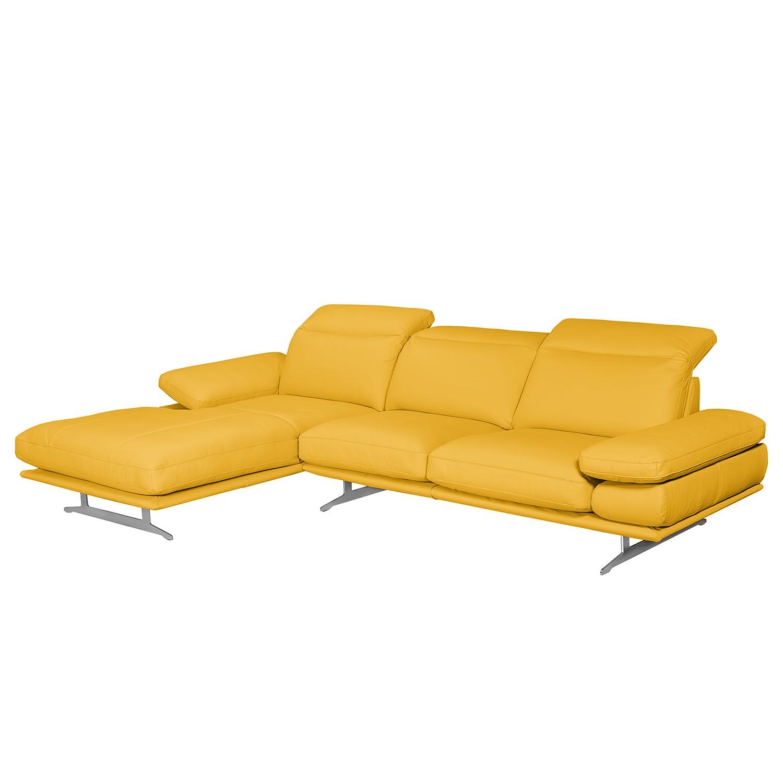 Canapé d'angle Kingman - Cuir véritable - Méridienne longue à gauche (vue de face) - Jaune maïs, lof